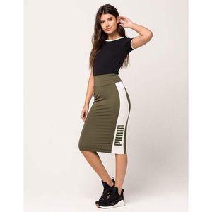 Olive Green Puma Midi Skirt